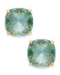 kate spade new york - Green 12K Gold-Plated Blue Stone Square Stud Earrings - Lyst