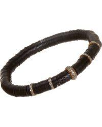 Devon Page Mccleary | Black Vinyl Bracelet With Diamond Spacers | Lyst