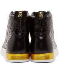 DIESEL - Black Leather Diamond Sneakers for Men - Lyst