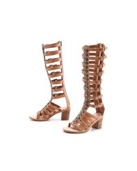 Jeffrey Campbell - Brown Sade Embellished Gladiator Sandals Tan - Lyst