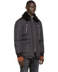 DSquared² Black Down Russian Collar Coat for men