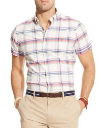 Ralph Lauren - Pink Polo Short Sleeved Plaid Oxford Button Down Shirt - Classic Fit for Men - Lyst