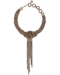 Lanvin - Metallic Brass Knotted Rope Necklace - Lyst