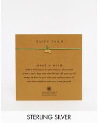 Dogeared | Metallic Gold Plated Make A Wish Happy Tails Dog Bone On Emerald Silk Necklace | Lyst