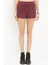 Forever 21 - Purple Faux Suede Shorts - Lyst