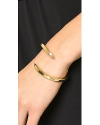 Giles & Brother | Metallic Double Spike Bypass Cuff Bracelet - Gold | Lyst