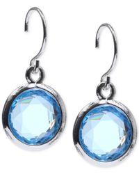 Anne Klein | Blue Silver-tone Aquamarine Stone Drop Earrings | Lyst