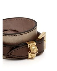 Alexander McQueen - Brown Double Wrap Skull Metallic Leather Bracelet - Lyst