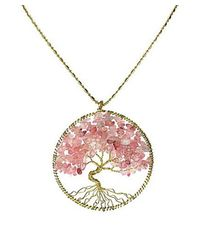 Aeravida | Pink Rose Quartz Stone Eternal Tree Of Life Brass Long Necklace | Lyst
