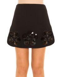 Victoria, Victoria Beckham - Black Flower Trim Skirt - Lyst