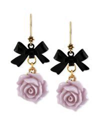 Betsey Johnson | Metallic Antique Goldtone Flower and Bow Drop Earrings | Lyst