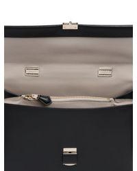 Giorgio Armani | Black Charniere Doree' Leather Top Handle Bag | Lyst
