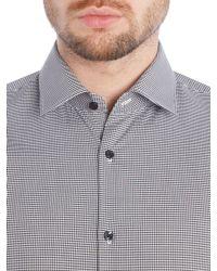 HUGO | Black Slim Fit Business Gingham Shirt for Men | Lyst