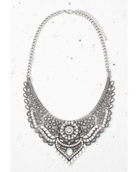 Forever 21 | Metallic Rhinestoned Bib Statement Necklace | Lyst