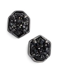 Kendra Scott | Metallic 'logan' Stud Earrings - Gunmetal/ Black Drusy | Lyst