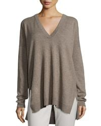 Vince - Natural Cashmere V-neck Sweater - Lyst