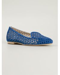 Aperlai - Blue 'gatsby' Cut Out Slippers - Lyst