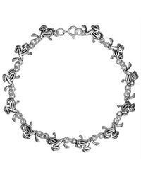 Aeravida | Metallic Whimsical Frog Link Sterling Silver Bracelet | Lyst