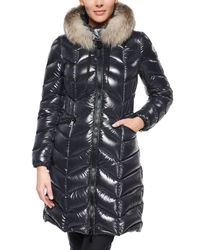 Moncler - Black Bellette Fur-trim Puffer Coat - Lyst