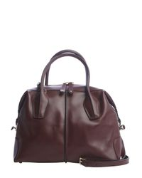 Tod's - Dark Blood Red Leather Dstyling Tonvertible Tote Bag - Lyst