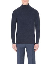 Hardy Amies | Blue Roll Neck Wool-blend Jumper, Men's, Size: Xl, Indigo Navy for Men | Lyst