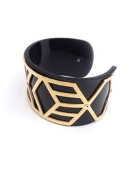 Anna Byers - Narrow Perspex Cuff Black & Gold - Lyst
