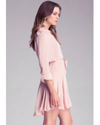 Bebe - Pink Silk Aline Dress - Lyst