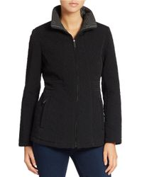 Gallery | Black Mockneck Collar Quilted Coat | Lyst