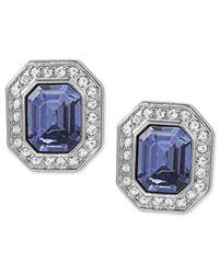Carolee | Metallic Silver-tone Emerald-cut Clip-on Earrings | Lyst