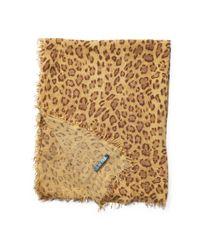 Ralph Lauren - Natural Leopard-print Wool-blend Scarf - Lyst