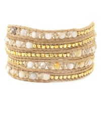 Chan Luu | Natural African Opal Mix Wrap Bracelet On Beige Leather | Lyst