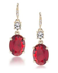 Carolee | Red Russian Tea Room Double-drop Earrings | Lyst