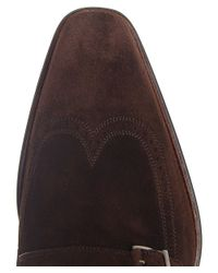 Saks Fifth Avenue | Brown Suede Monk Strap Shoes for Men | Lyst