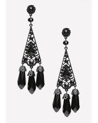 Bebe | Black Tonal Triple Drop Earrings | Lyst