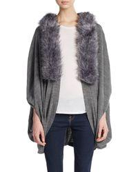 La Fiorentina | Gray Faux Fur-trimmed Poncho | Lyst