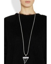 Givenchy | Black Shark Tooth Necklace in Leather and Silvertone Brass | Lyst