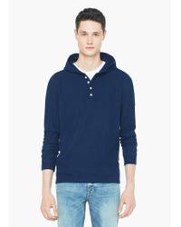 Mango - Blue Ribbed Hooded Sweatshirt for Men - Lyst