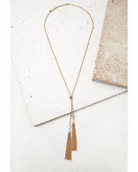 Forever 21 | Metallic Knotted Tassel Necklace | Lyst