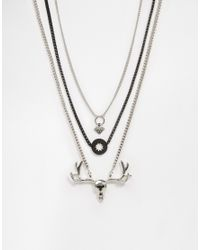 ASOS | Metallic Necklace Pack With Stag Charm In Silver for Men | Lyst
