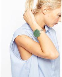 ASOS   Green Hammered Cuff Stone Bracelet   Lyst
