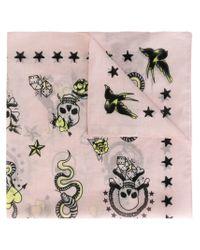 Alexander McQueen | Pink - Skull Tattoo Foulard - Women - Cotton - One Size | Lyst