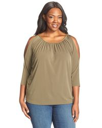 MICHAEL Michael Kors | Green Chain Neck Cold Shoulder Top | Lyst