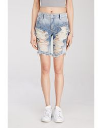 Forever 21 - Blue Distressed Denim Bermuda Shorts - Lyst