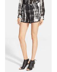 A.L.C. - Black 'mark' Print Silk Shorts - Lyst