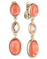 Jones New York | Pink Gold-tone Triple Oval Clip-on Drop Earrings | Lyst