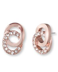 Anne Klein | Pink Rose Goldtone And Glitz Interlocking Rings Stud Earrings | Lyst