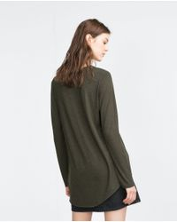 Zara | Brown Soft Touch Top | Lyst