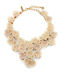 Oscar de la Renta - Natural Crystal Swirl Flower Bib Necklace - Lyst