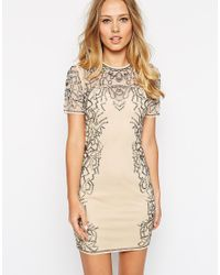 ASOS | Gray Embellished Metallic Bead Bodycon Dress | Lyst