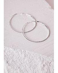 Missguided - Metallic Oversized Diamante Hoop Earrings Silver - Lyst